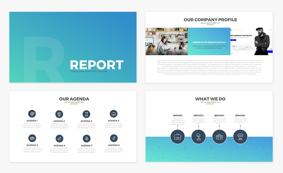 Free Report Multipurpose PowerPoint Template
