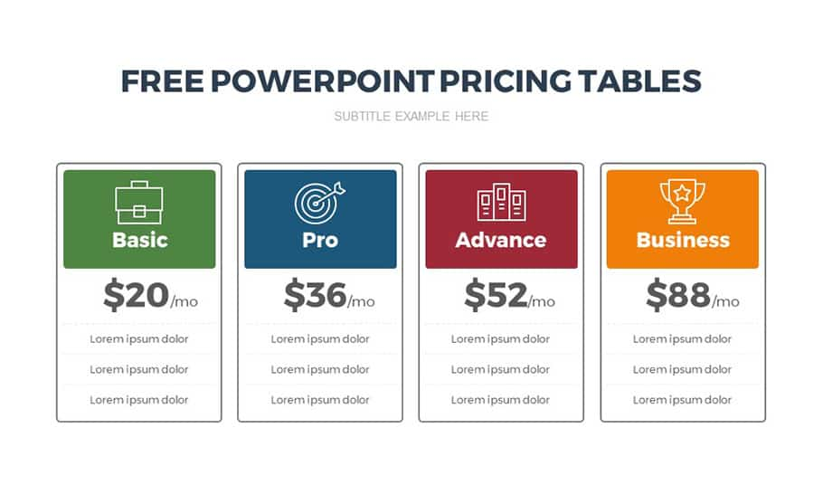 Free Pricing Table Template for PowerPoint