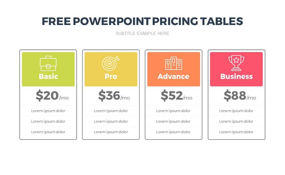 Free Pricing Table Template For Powerpoint Presentation